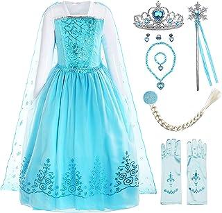Disfraz de niña Disfraz de Copo de Nieve de Lentejuelas Plisadas de Manga Larga Frozen Princess Elsa