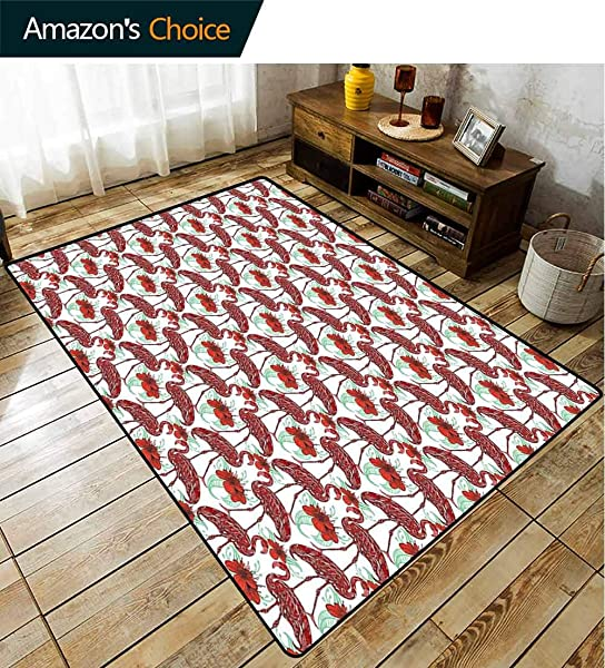 Flamingo Heavy Duty Area Rug Hearts Artistic Bird Figures With Floral Abstract Ornaments Hand Drawn Lilies Fashionable High Class Living Dinning Room 3 X 5