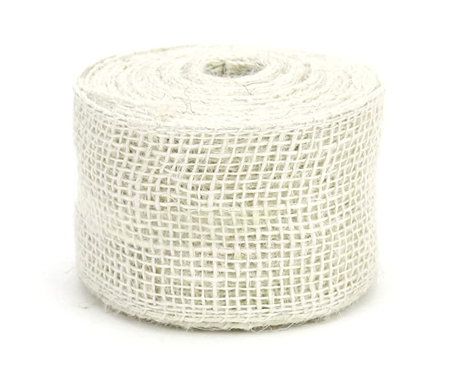 Kel-Toy RNW62-01 Burlap Ribbon with Woven Wired Edge, 2.5 x 10 yd, Off White
