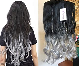 black to grey ombre extensions