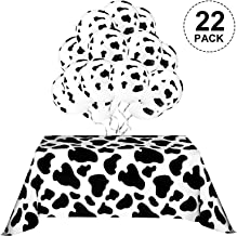 Halloween Table Cover for Party, Include 2 Pieces Table Covers, 20 Pieces Balloons and 10m White Ribbon Party Picnic Supplies (Cow Print Cow Pattern)
