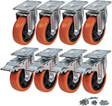 CoolYeah 4 inch Swivel Plate PVC Caster Wheels, Industrial, Premium Heavy Duty Casters (Pack of 8, 4 with Brake & 4 Without)