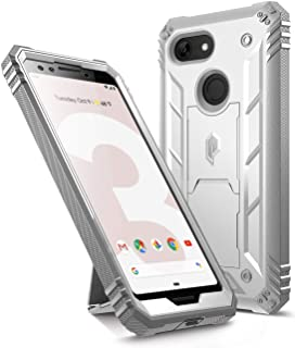 Google Pixel 3 Kickstand Rugged Case, Poetic Revolution [360 Degree Protection] Full-Body Rugged Heavy Duty Case with [Built-in-Screen Protector] for Google Pixel 3 White