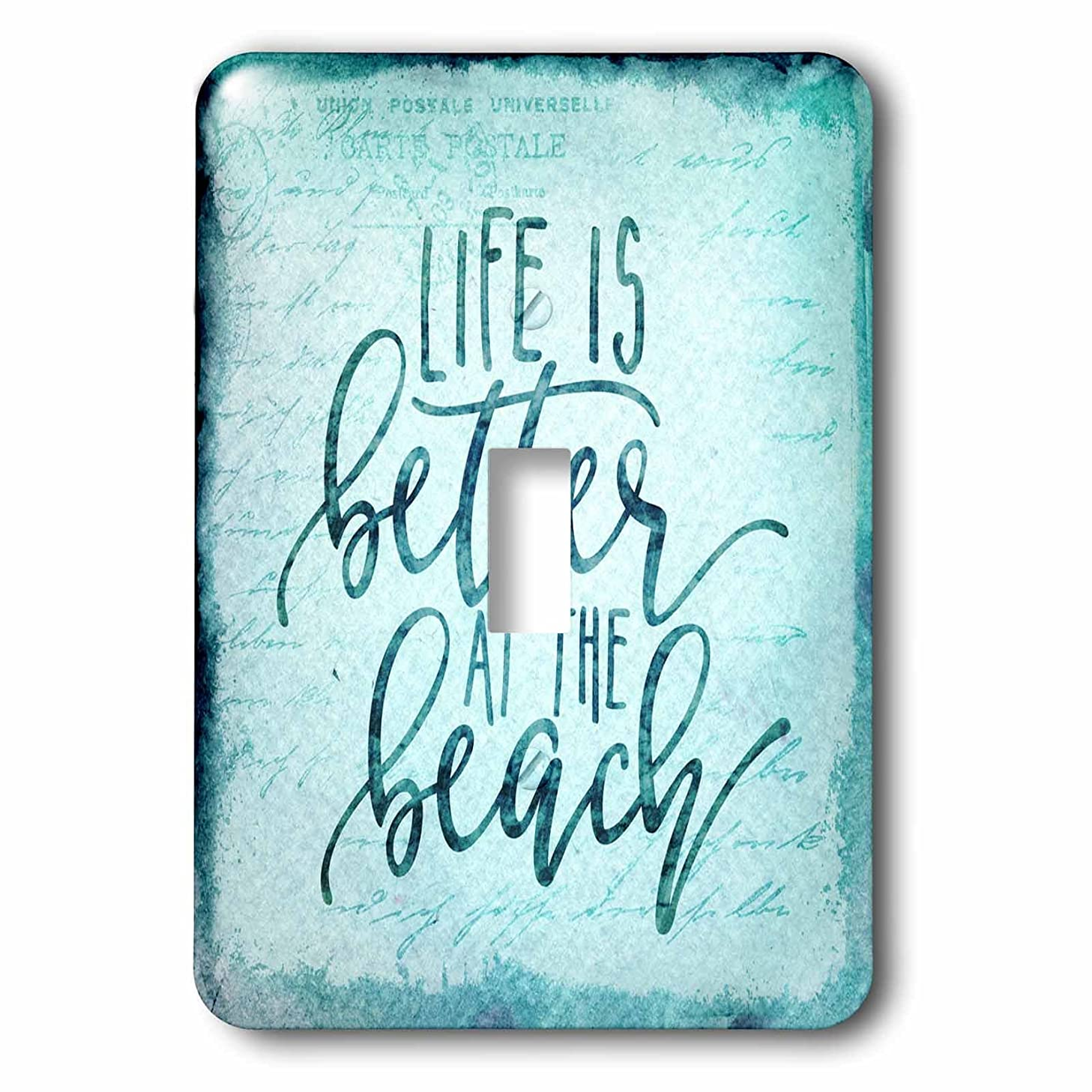 3dRose lsp_276371_1 Life is Better at the Beach Typography Art Toggle Switch Mixed