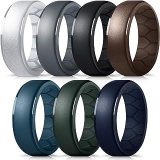 فورثي خاتم زفاف من السيليكون للرجال، منحنى داخلي جيد التهوية لتدفق الهواء، أربطة مطاطية للخطوبة للرجال للتمرين عبر كروس فيت