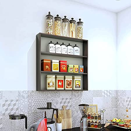 Furnifry Wooden Wall Mounted Shelves for Kitchen / Kitchen Storage Shelf / Wall Shelf / Kitchen Shelf for Home / Kitchen Wall Shelf / Kitchen Wall Rack (Wenge Color)
