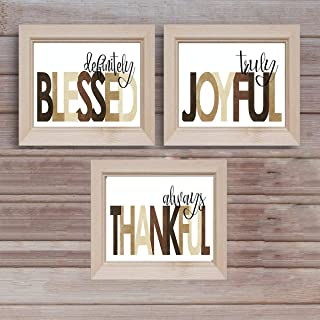 Blessed- Joyful- Thankful Wall Art Trio Set- (3) 10 x 8's- Spiritual Wall Decor- Typographic Prints Ready to Frame. Home Décor, Office Décor- Christian Gifts. Inspiring & Encouraging Reminders for All