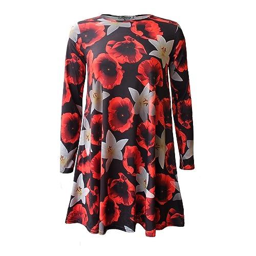 4ce249570b7 Women Ladies Long Sleeve Rose Floral Print Lily Poppy Skater Swing Dress  Top Plus Size