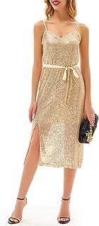 Women Split Front Maxi Dress Sparkling Spaghetti Straps Party Dress with Belt