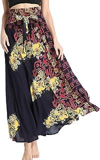 Csbks Women`s 2 in 1 Bohemian Breezy Asymmetric Beach Long Skirts Casual Halter or Strapless Dress