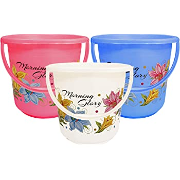 Kuber Industries Floral Print 3 Pieces Unbreakable Strong Plastic Bathroom Bucket 16 LTR (Multi Color) -CTKTC134867