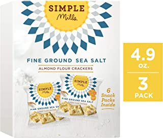 Simple Mills Almond Flour Cracker Snack Pack, Fine Ground Sea Salt, 4.9 Ounce, Pack of 3