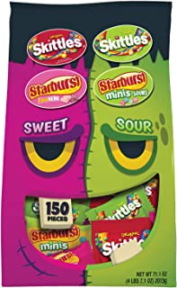 SKITTLES & STARBURST Sweet & Sour Halloween Candy Fun Size Variety Mix (150 Count)