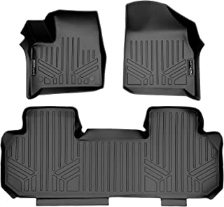MAXLINER All Weather Custom Fit 2 Row Black Floor Mat Liner Set Compatible With 2018-2021 Chevrolet Traverse (Only fits with 2nd row bench seat)