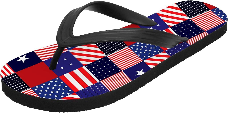 Uminder American Flag Sandals for Men Women 3D Print Non Slip Non-Slip Flip Flops Indoor Outdoor Gifts for Friends,White,Women 9.5,Men 8