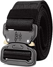 GUSTAVE Men's Tactical Belt Nylon Military Style Webbing Belt with Metal Buckle