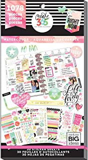 me & my BIG ideas Sticker Value Pack - The Happy Planner Scrapbooking Supplies - Watercolor Theme - Multi-Color & Gold Foi...