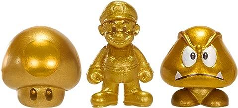 Nintendo Mario Bros U Micro Figure (3-Pack : Gold Mario/Gold Mushroom/Gold Goomba)