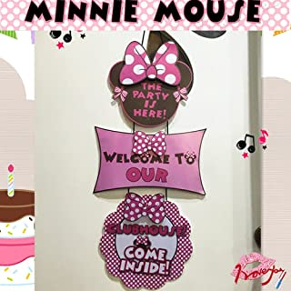 Alemon Minnie Mouse Birthday Party Welcome Hanger Door Poster Banner
