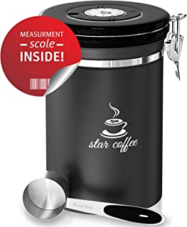 Star Coffee Container Airtight Coffee Storage - Stainless Steel Canister with Scoop for Beans and Ground Coffee, With 5 Co2 Valve and Freshness Calendar Plus eBook, Large Coffee Holder, 22oz – Gray