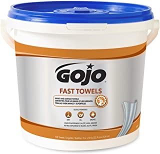 GOJO Fast Towels, Fresh Citrus Scent, 130 Count Multi-Purpose, Heavy Duty Textured Wet Towels Canister - 6298-04,Blue
