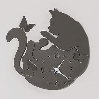 32X47H Grigio ARTI E MESTIERI Orologio Metallo da Parete con Pendolo Gatto alla Finestra