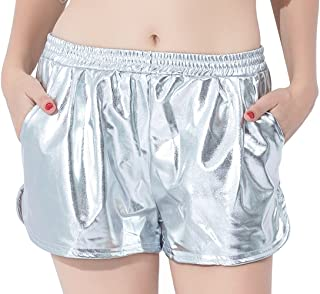 Speerise Womens Casual Shiny Metallic High Waisted Spandex Loose Running Yoga Shorts