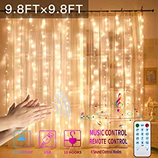 GYTF Curtain Lights with Sound Activated, USB Powered 300 LED Fairy Christams Lights with Remote,Sync-to-Music Setting & 8 Mode Hanging Light for Bedroom Wall Decor (Warm)