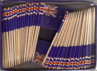One Box New Zealand Toothpick Flags, 100 Small Mini New Zealanders Flag Cupcake Toothpicks or Cocktail Picks