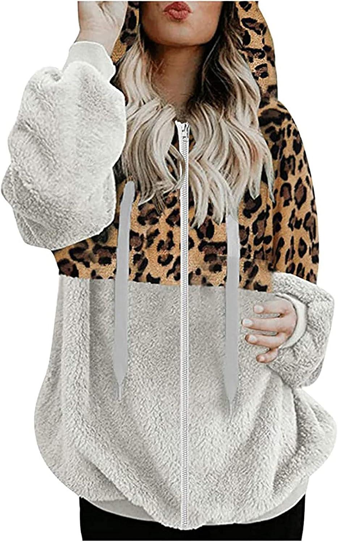 Women Color Block Hoodies Leopard Print Zip-Up Fleece Fuzzy Long Sleeve Casual Oversized Warm Coat With Pockets