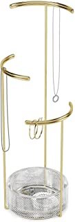 Umbra Tesora 3-Tier Jewelry Stand, Earring Holder, Accessory Organizer and Display, Glass/Brass