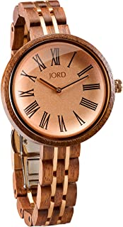 Wooden Wrist Watches for Women - Cassia Series/Wood and Metal Watch Band/Wood Bezel/Analog Quartz Movement - Includes Watch Box