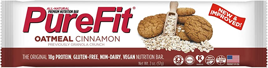 PureFit Oatmeal Cinnamon Premium Nutrition Bars, 15 Count | 18G Protein, Performance Enhancement & Energy Bar – Gluten Free, Dairy Free, Low Carb, Vegan
