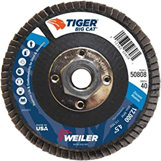 "Best Weiler 50808 Big Cat High Density Type 27 Flat Flap Disc, Zirconia Alumina, 4-1/2"", 40 Grit, 5/8""-11"" UNC, 12000 rpm Review"