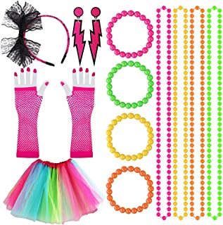 Kulannder 80s Fancy Dress Costume Accessories for Women and Girls, Retro Women Dresses Party with Neon Rainbow Dress Glove...