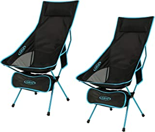 G4Free Upgraded Outdoor 2 Pack Camping Chair Portable Lightweight Folding Camp Chairs with Headrest & Pocket High Back High Legs for Outdoor Backpacking Hiking Travel Picnic Festival