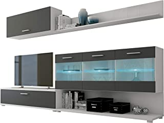 HomeSouth - Mueble de Comedor modulo Salon Vitrina con Led Modelo Zafiro Acabado Color Blanco y Grafito Medidas: 250 c...
