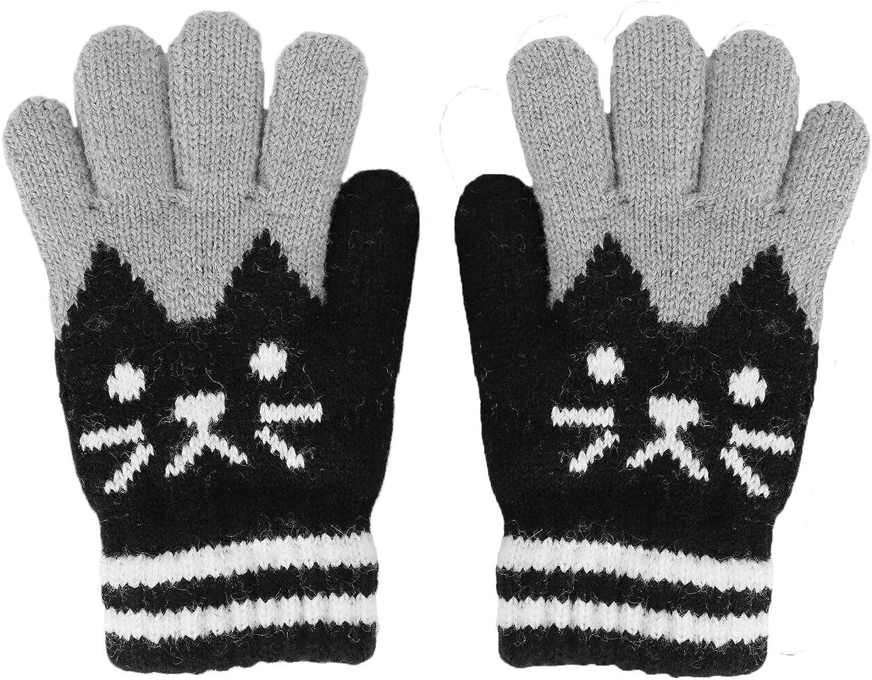 Woolen Winter Snow Ski Gloves Animal Cat Bear Full Finger Knit Mitten Gloves For Kids Christmas Gifts