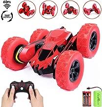 SGILE 1:28 Coche Teledirigido, con Batería Recargable y Extra, 2.4GHz Stunt RC Car, Doble Lado Rotación de 360 Grados de Alta Velocidad, Juguetes para Niños, Rojo