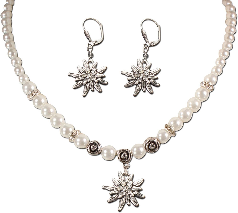 Alpenflüstern Traditional bavarian jewelry set pearl necklace and earrings rhinestone Edelweiss , Ladies costume jewelry, traditional german flower pendant, Dirndl, Oktoberfest (cream-white)