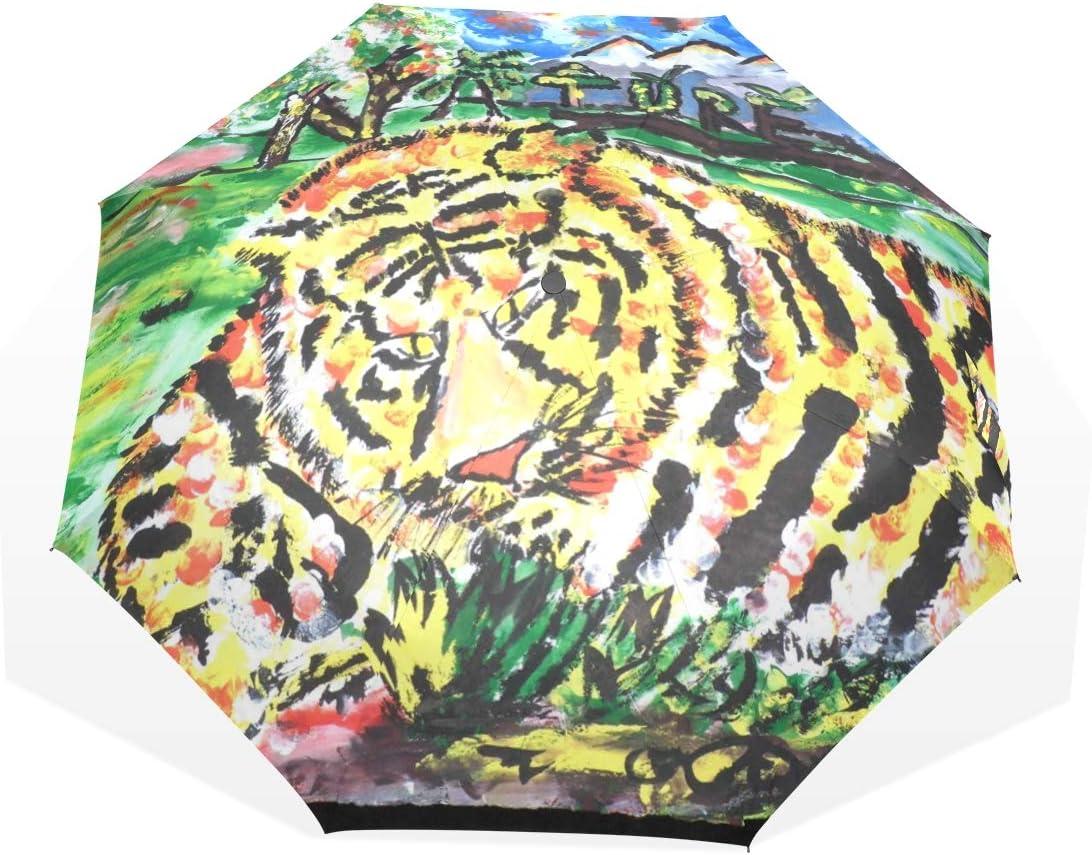 CiCily Compact Folding Umbrella Painting Rain Sun Tiger Under blast Excellence sales Protab