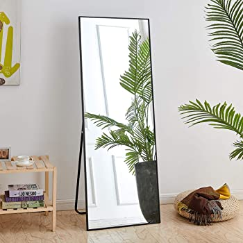 """Rose Home Fashion Full Length Mirror, Aluminum Alloy Thickened Frame-64"""" x21"""", Floor Mirror, Standing Mirror, Full Body Mirror, Large Mirror, Floor Length Mirror, Wall Mirror, Black Frame"""