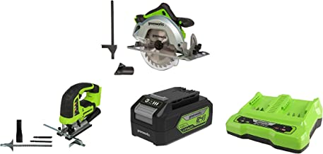Greenworks Tools 1500907 Sierra Circular, 24 V + Sierra de calar sin Cable GD24JS + Batería G24B4 2ª generación + Batería de doble ranura Cargador universal G24X2C