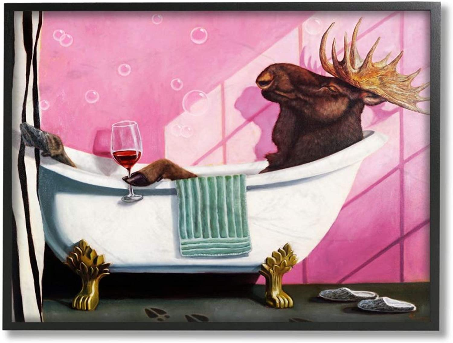 Stupell Industries Moose with Wine online In a popularity shop Bathroom Relaxation Claw Tub