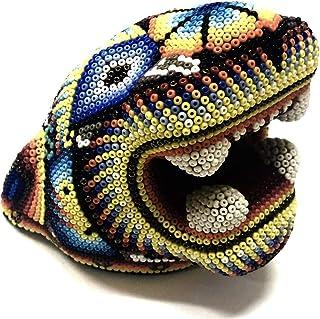 Serendipia Handmade Huichol Art Clay Jaguar Original Mexican Art.