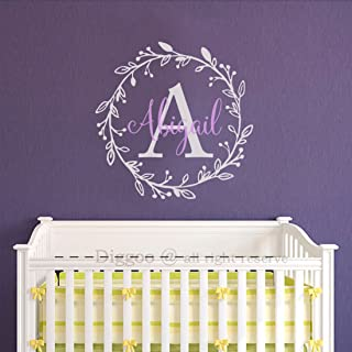 Vinyl Monogram Wall Decal PERSONALIZED Flower Wreath Initial Name Decal Baby Nursery Girls Room Wall Decor (22