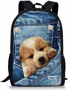 ALIKEEY 3D Print Animal Gato Perro Backpack Student School College Bolsas De Hombro B