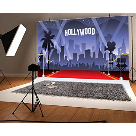YongFoto 3x2m Vinyle Toile de Fond Hollywood Rouge Tapis Éclairages Fond Décors Studio Photo Portrait Enfant Video Fete Mariage Photobooth Photographie Accesorios