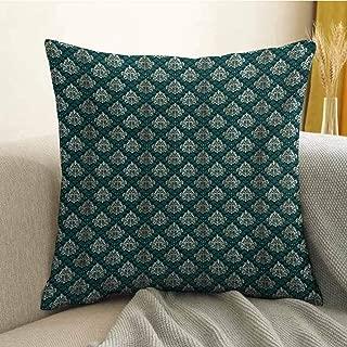Damask Pillowcase Hug Pillowcase Cushion Pillow French Pattern Inspired by Rococo Era Designs Intricate Renaissance Motifs Anti-Wrinkle Fading Anti-fouling W16 x L16 Inch Jade Green Gold