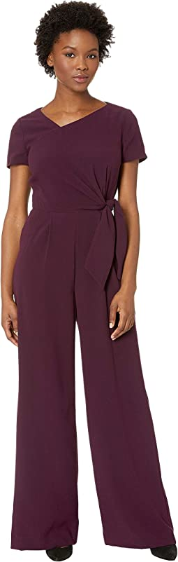Short Sleeve Crepe Jumpsuit with Asymmetrical Neckline